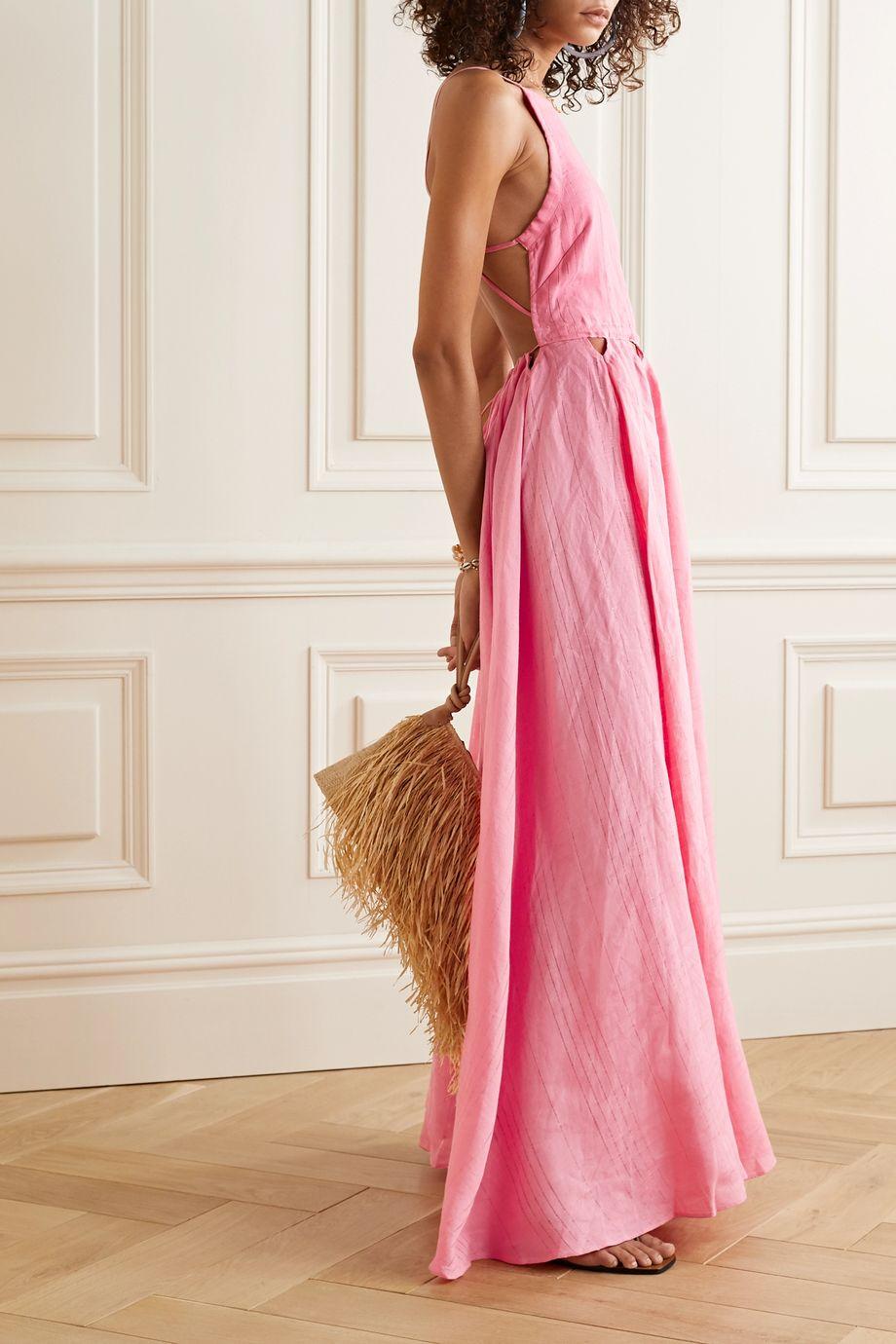 Cult Gaia Bella open-back cutout linen maxi dress