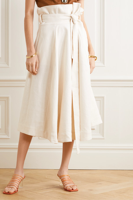 Asha belted linen-blend midi skirt