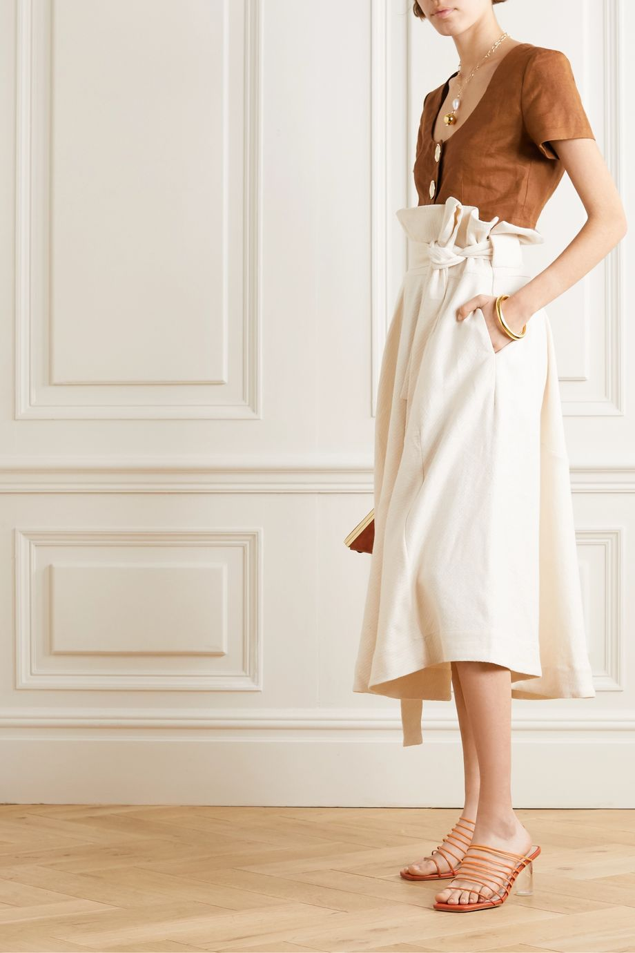 Cult Gaia Asha belted linen-blend midi skirt