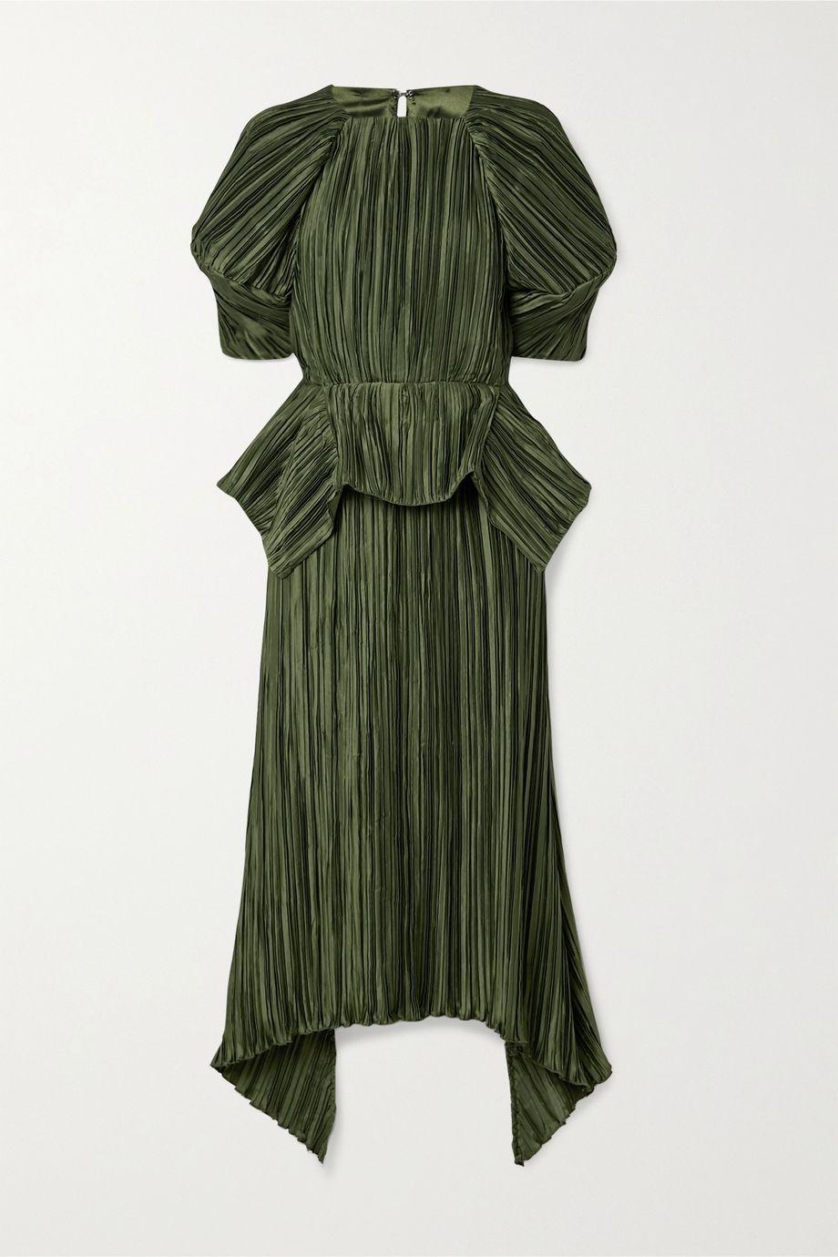 Cult Gaia Nadira open-back plissé-satin peplum midi dress