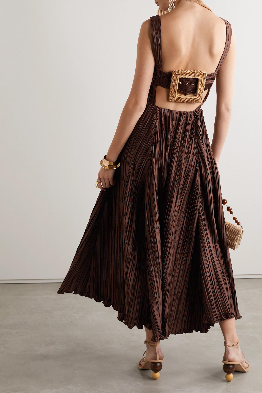 Cult Gaia Angela buckled plissé-satin midi dress