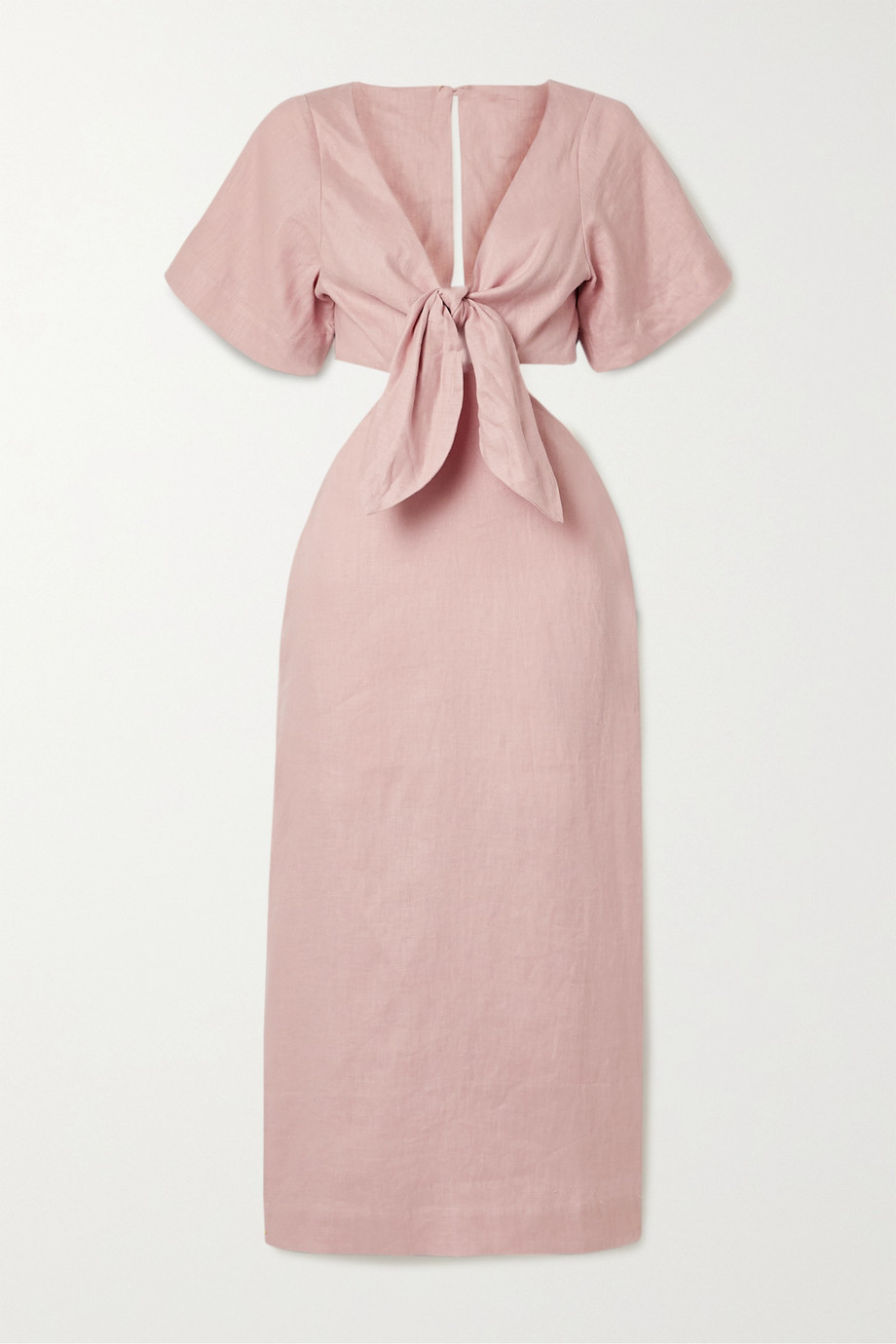 Cult Gaia Maya tie-front cutout linen midi dress