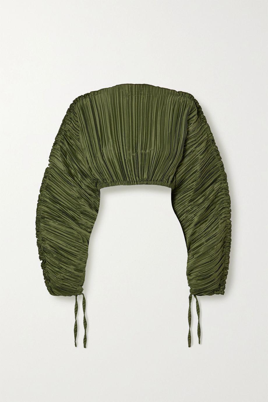 Cult Gaia Mala cropped plissé stretch-jersey blouse