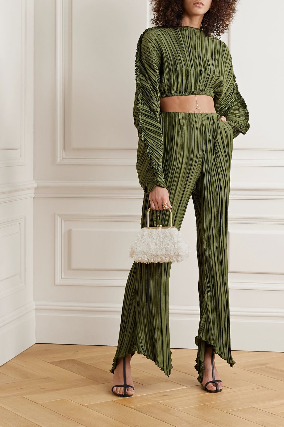 Cult Gaia Keira plissé stretch-jersey flared pants
