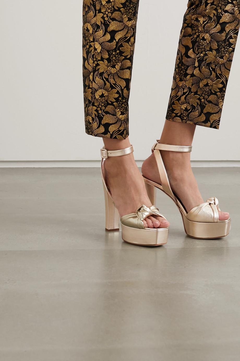 Giuseppe Zanotti Knotted metallic leather platform sandals