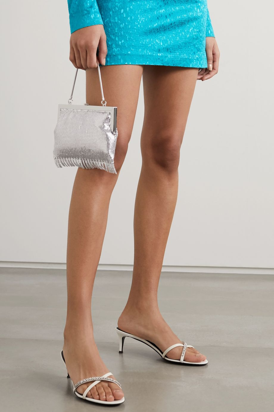 Giuseppe Zanotti Crystal-embellished smooth and patent-leather mules
