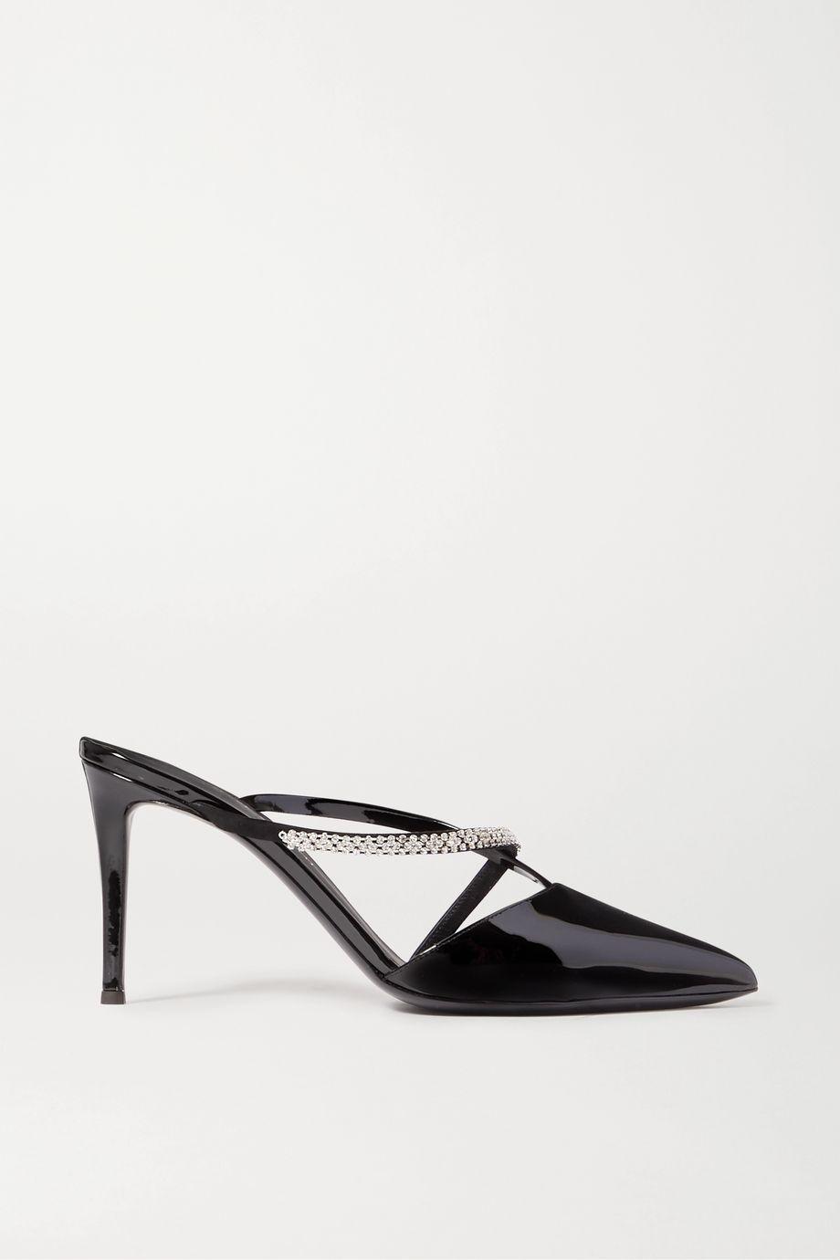 Giuseppe Zanotti Crystal-embellished patent-leather mules