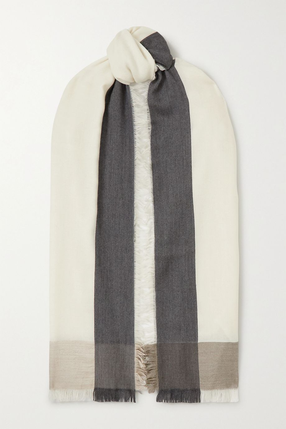 Loro Piana Fringed color-block cashmere and silk-blend scarf