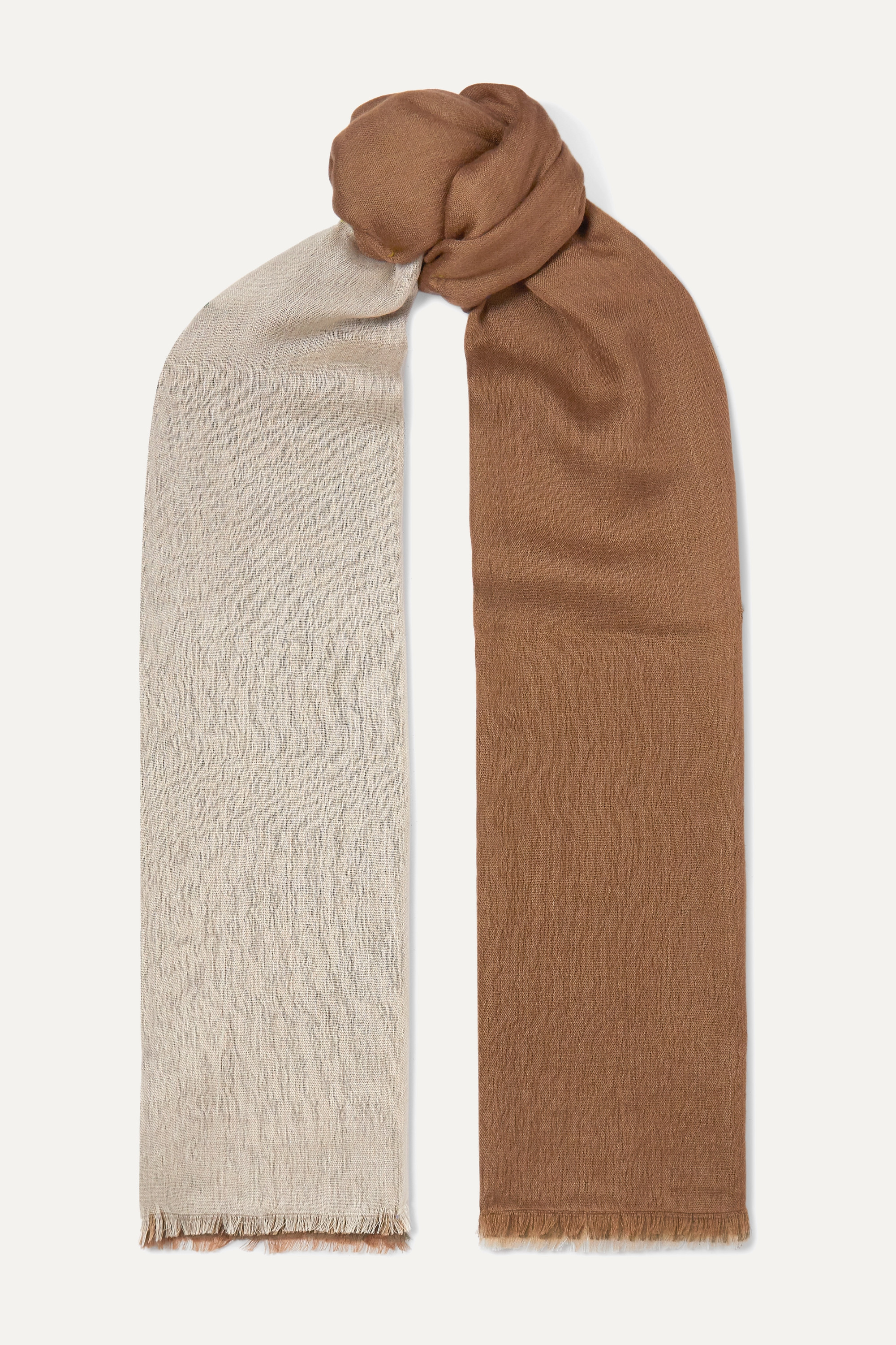 Loro Piana Aylit fringed color-block cashmere and silk-blend scarf