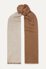 Aylit fringed color-block cashmere and silk-blend scarf
