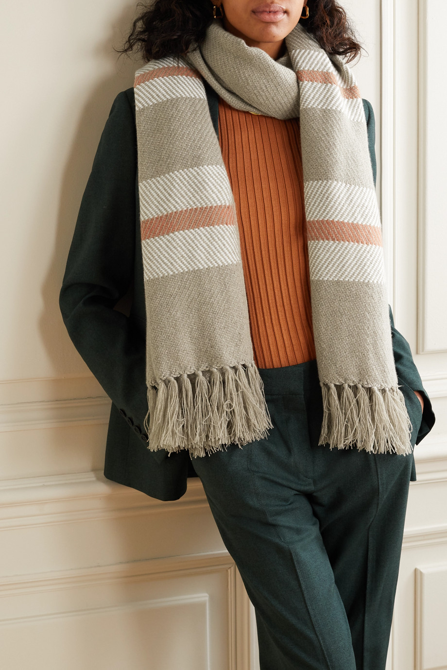 Loro Piana Fringed striped cashmere scarf