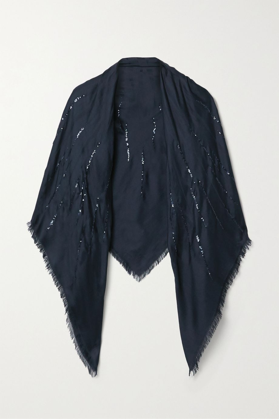 Loro Piana Fringed sequin-embellished silk scarf