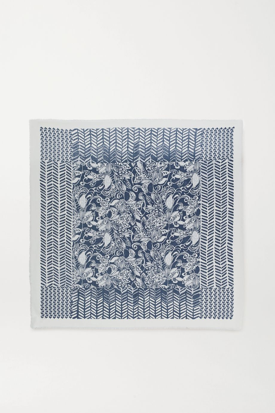 Loro Piana Fringed printed cashmere and silk-blend scarf