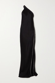 Michelle Mason One-shoulder crystal-embellished silk-satin gown