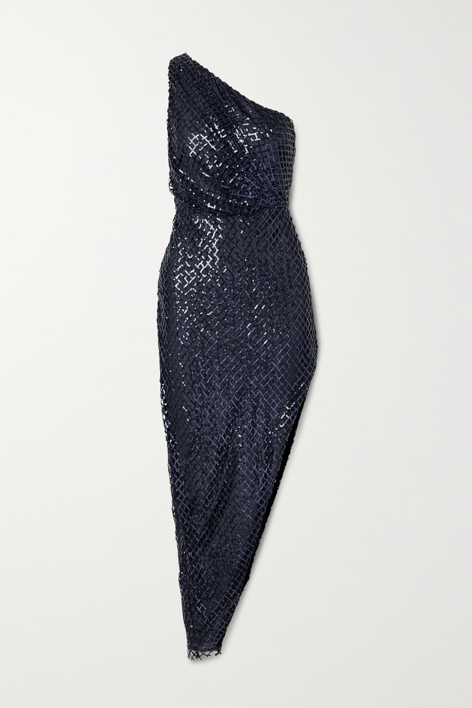 Michelle Mason One-shoulder asymmetric sequined mesh and silk dress
