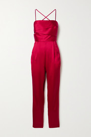 Michelle Mason Draped silk-satin jumpsuit