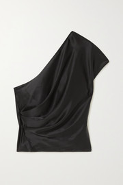 Michelle Mason One-shoulder draped silk-charmeuse top