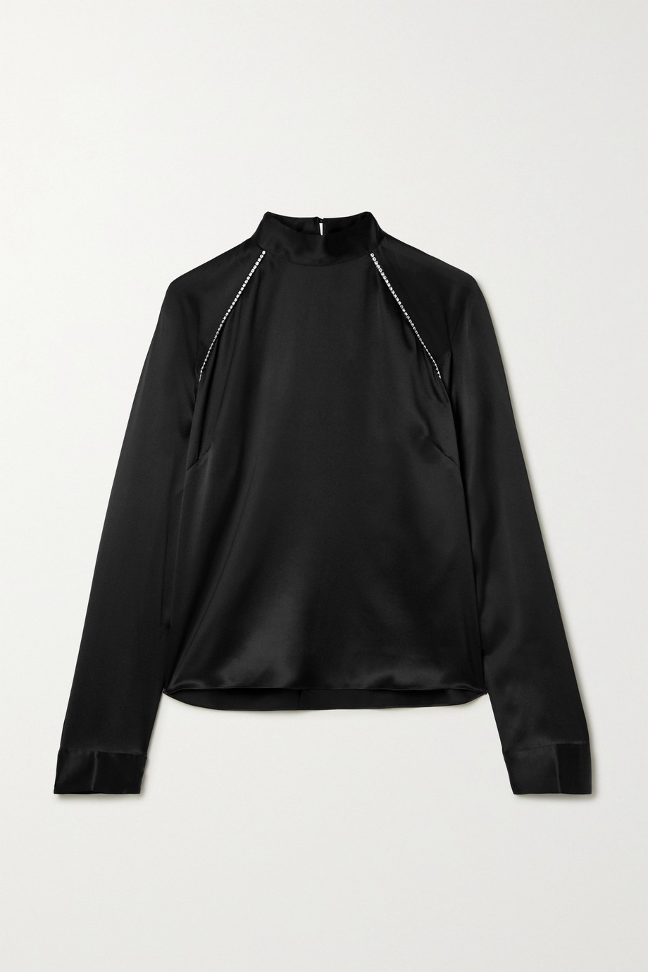 Michelle Mason Crystal-embellished silk-charmeuse blouse