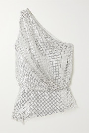 Michelle Mason One-shoulder sequined mesh and silk top