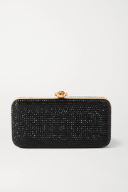 Crystal-embellished satin clutch