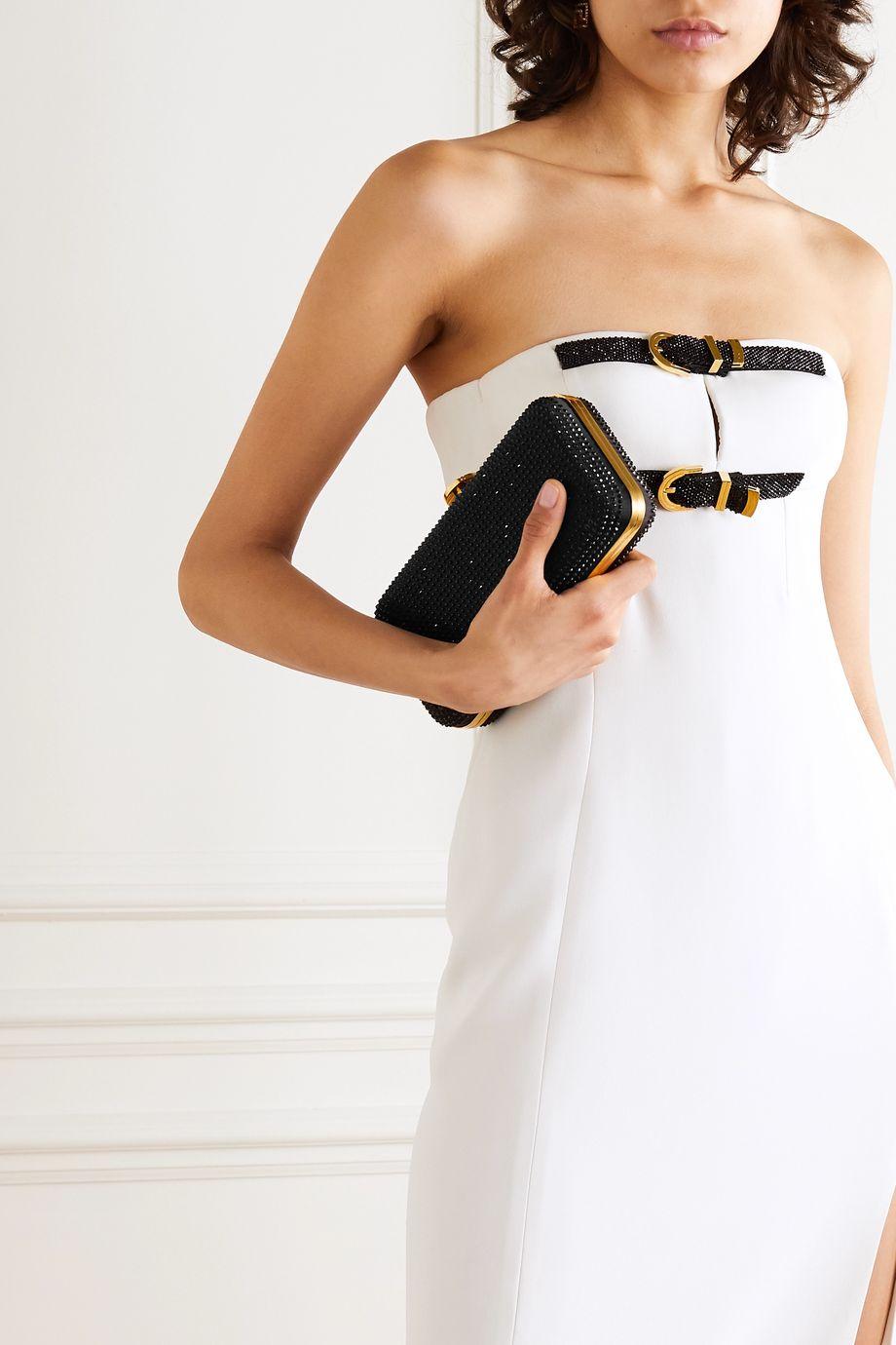 Versace Crystal-embellished satin clutch