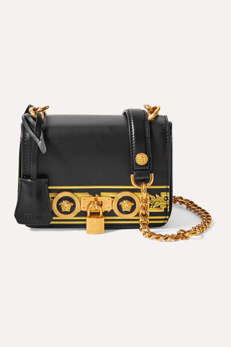 Versace Embellished printed leather shoulder bag