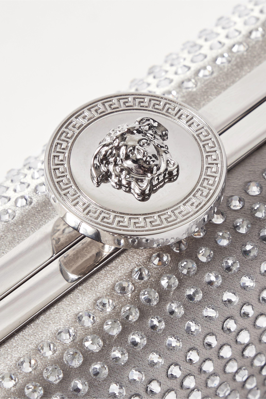 Versace Crystal-embellished metallic satin clutch