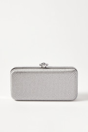 Versace Crystal-embellished metallic satin clutch