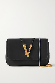 Versace Virtus embellished leather shoulder bag
