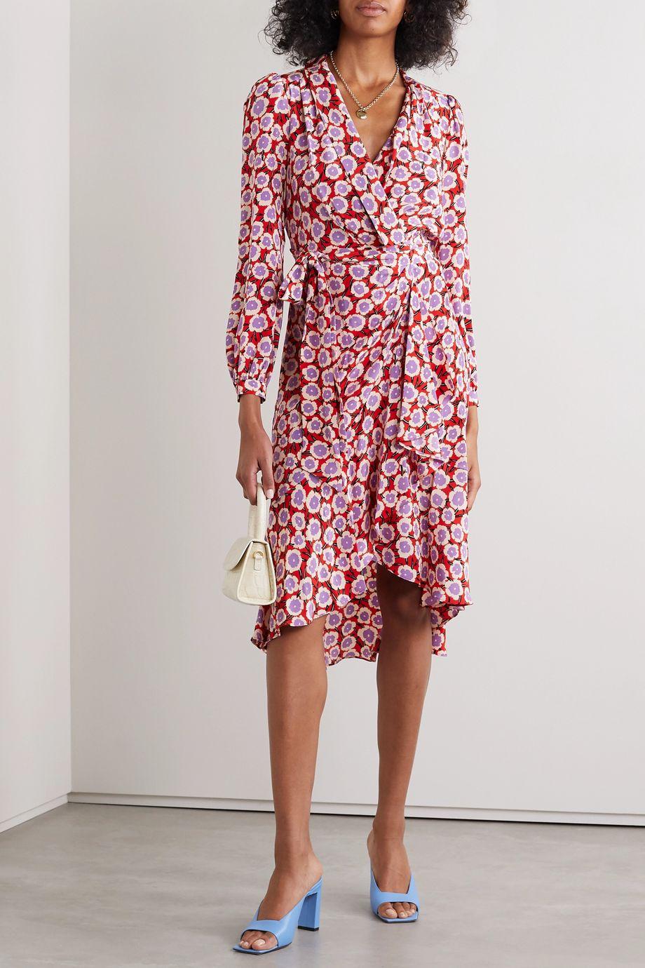 Diane von Furstenberg Carla Two asymmetric floral-print silk crepe de chine wrap dress