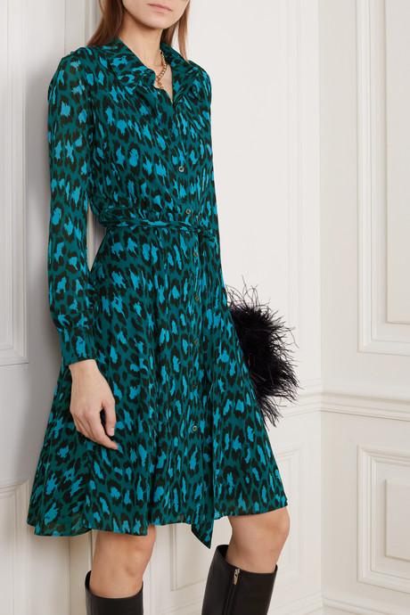 Dory belted leopard-print stretch-jersey dress