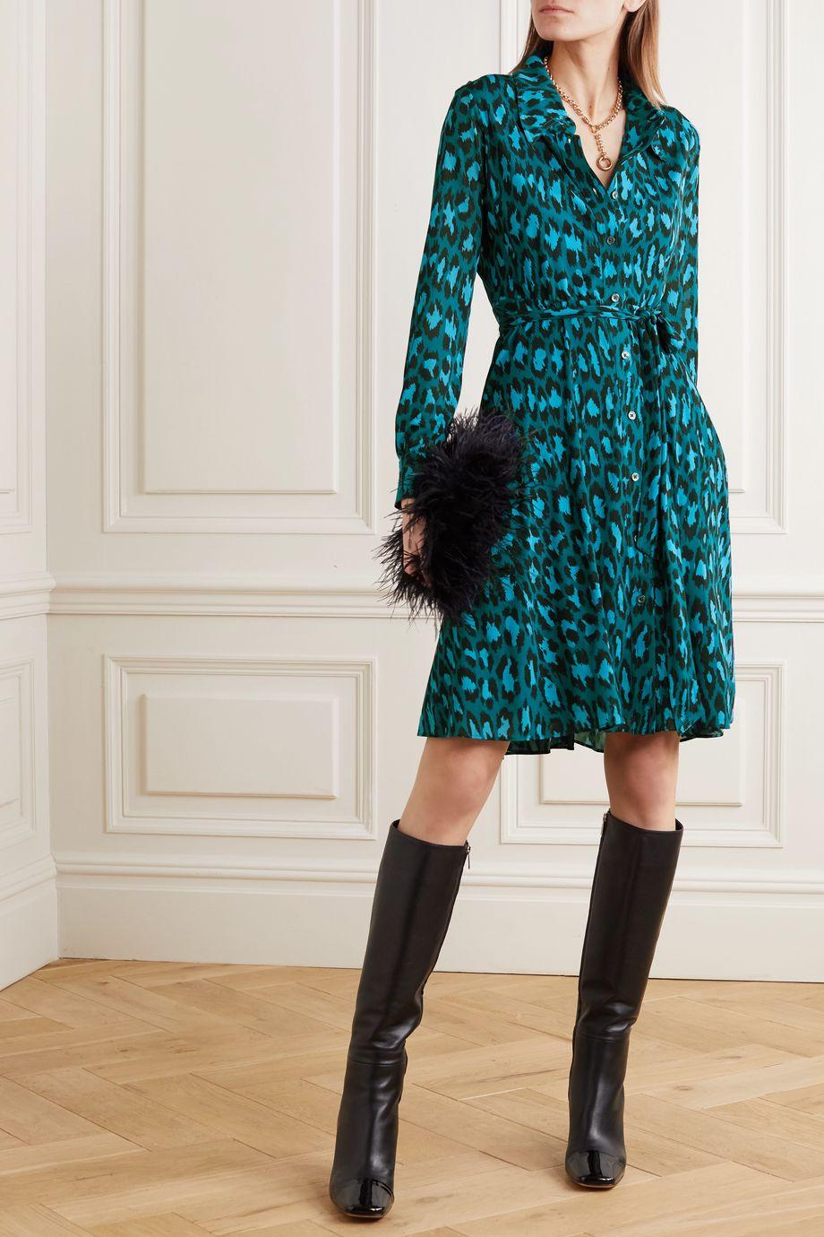 Diane von Furstenberg Dory 配腰带豹纹印花弹力平纹布连衣裙