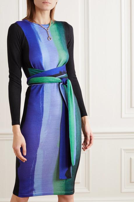 Gabel belted striped merino wool dress