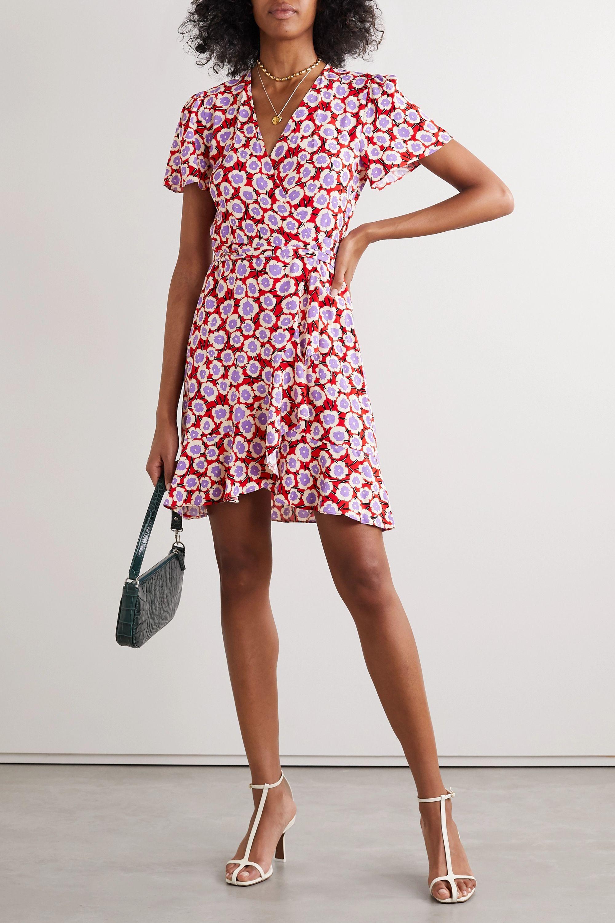 Blush Estrella Ruffled Floral Print Crepe De Chine Wrap Mini Dress Diane Von Furstenberg Net A Porter