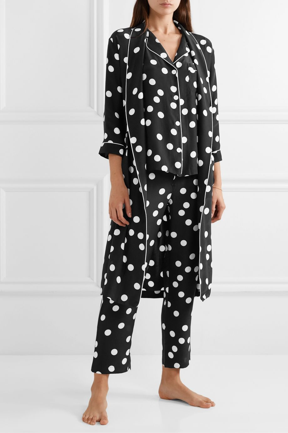 Sleepy Jones Marianne polka-dot silk-charmeuse robe