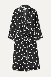 Marianne polka-dot silk-charmeuse robe