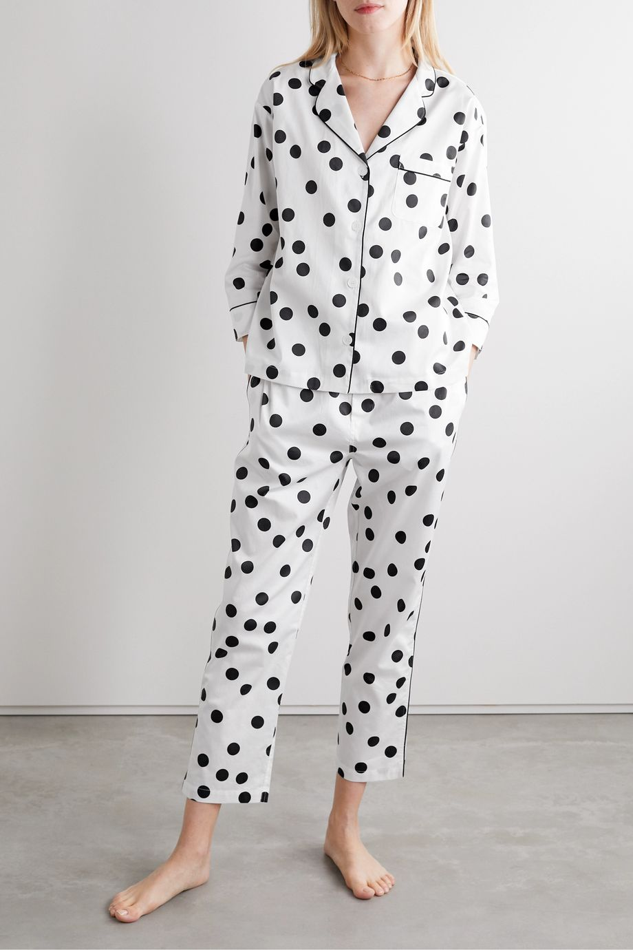 Sleepy Jones Marina polka-dot cotton-poplin pajama set