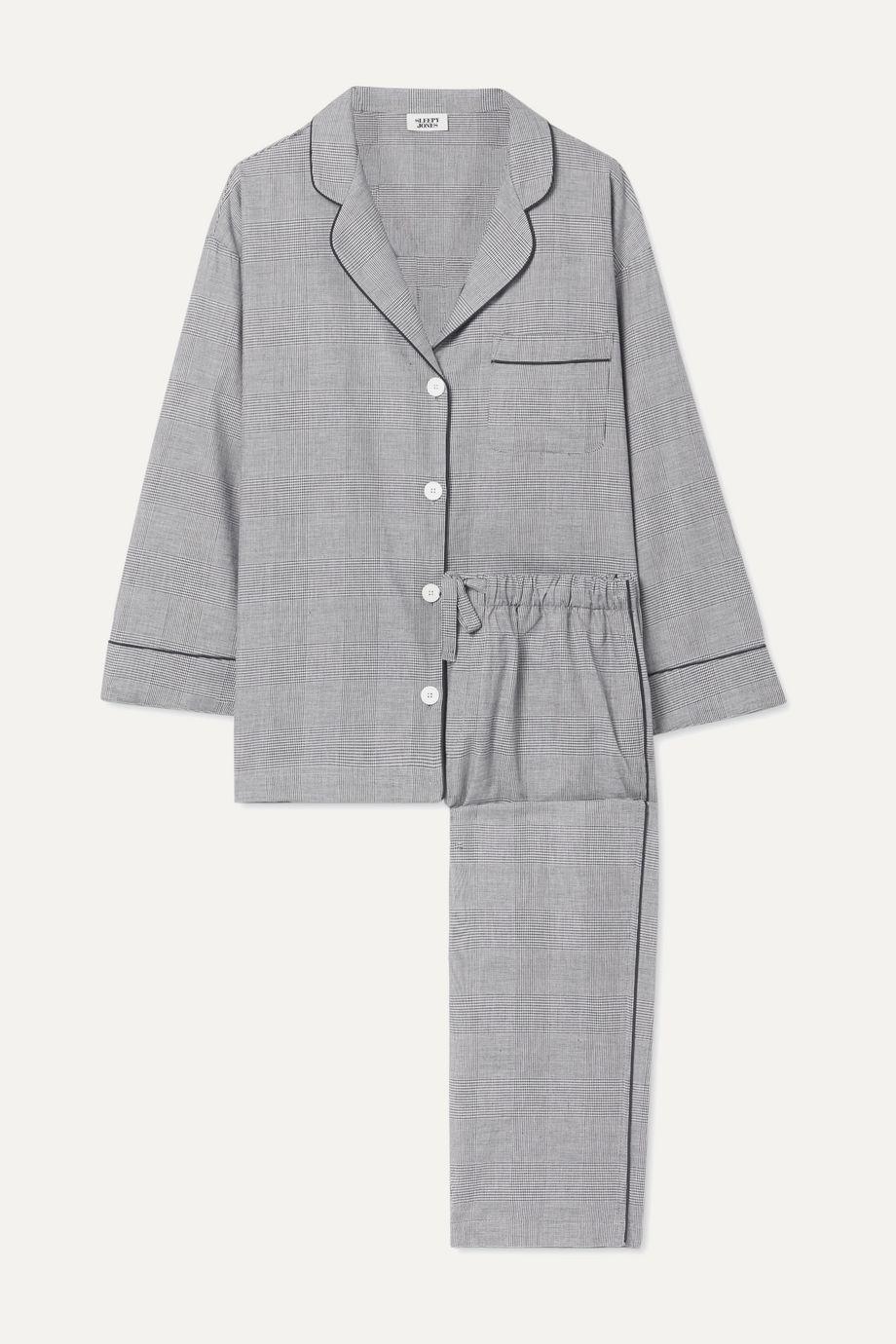 Sleepy Jones Marina Prince of Wales checked cotton pajama set