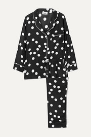 Marina polka dot silk-charmeuse pajama set