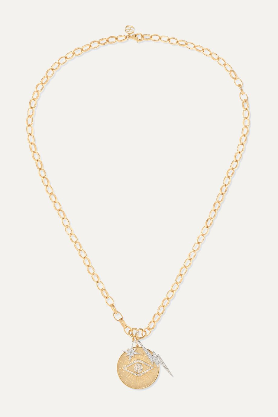 Sydney Evan 14-karat yellow and white gold diamond necklace