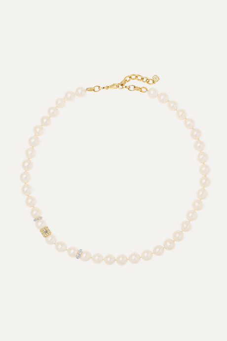 Gold 14-karat yellow and white gold, pearl and diamond necklace | Sydney Evan 7zkhzn