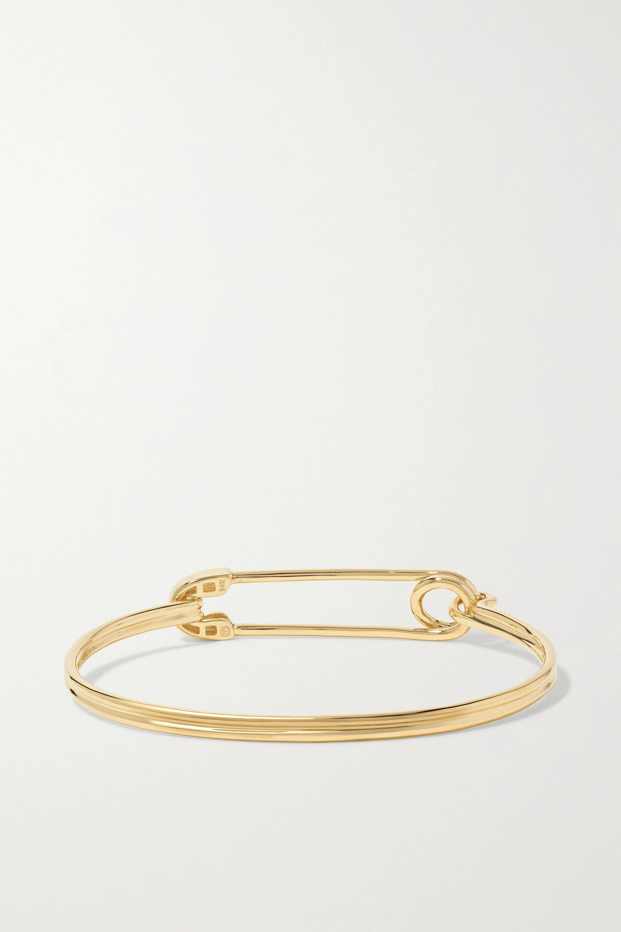 Sydney Evan Safety Pin 14-karat gold diamond bracelet