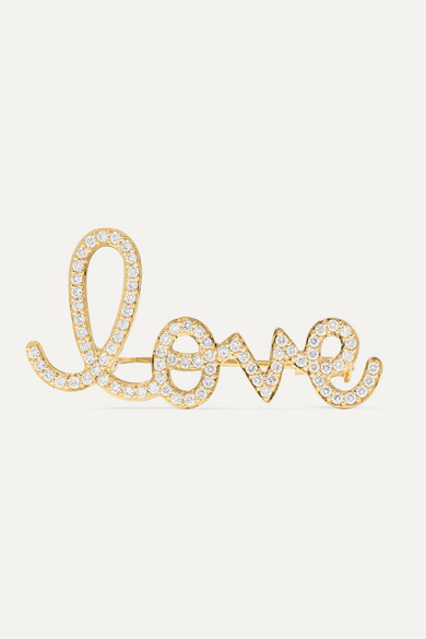 Big Love 14 Karat Gold Diamond Brooch by Sydney Evan