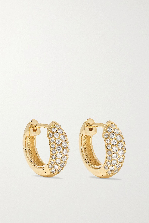 Sydney Evan Puffy Huggie 14-karat gold diamond hoop earrings