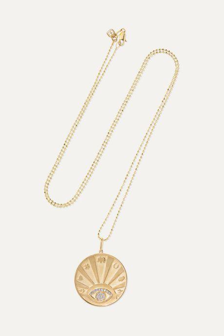 Gold Evil Eye 14-karat gold diamond necklace | Sydney Evan r000UJ