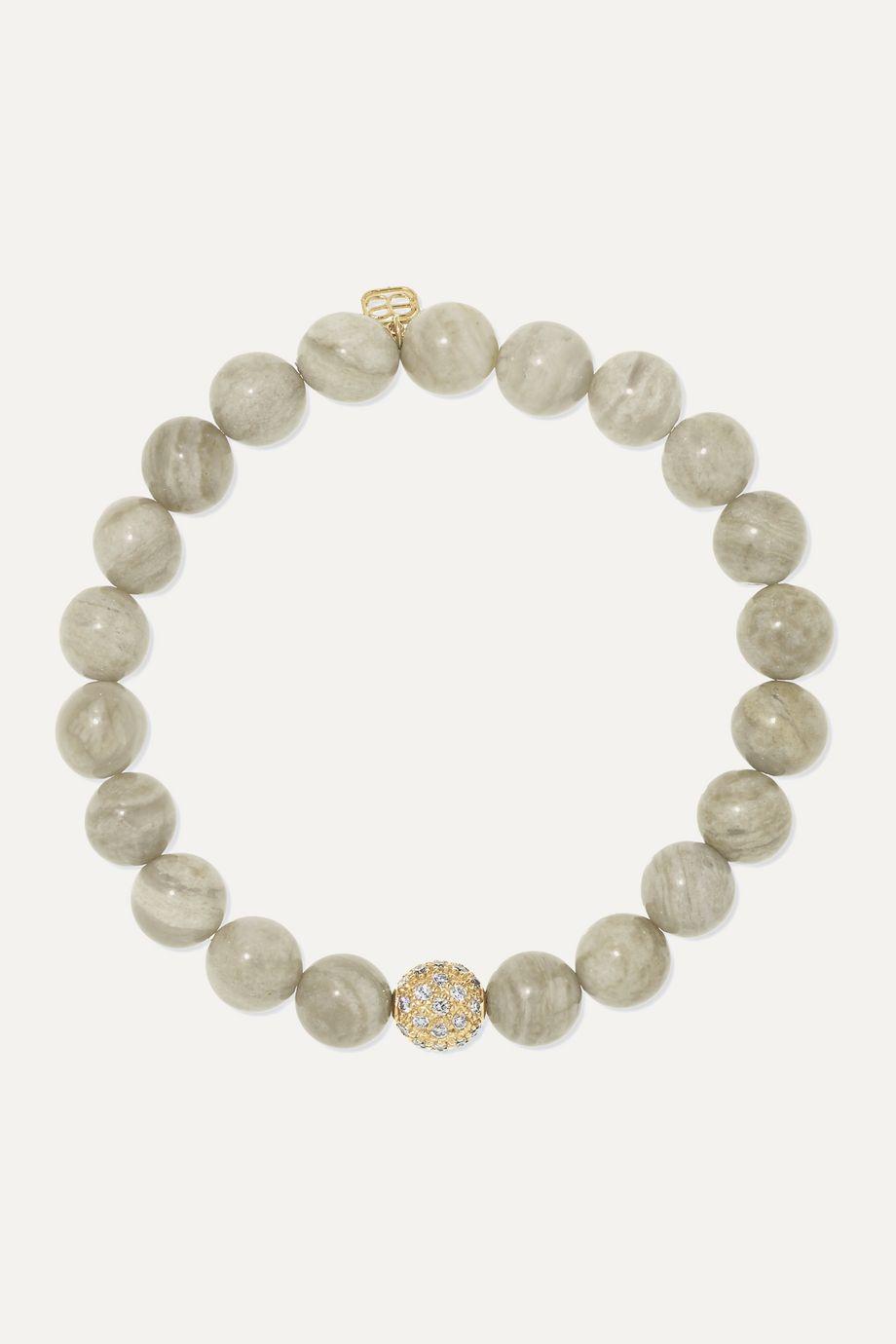 Sydney Evan 14-karat gold, jasper and diamond bracelet