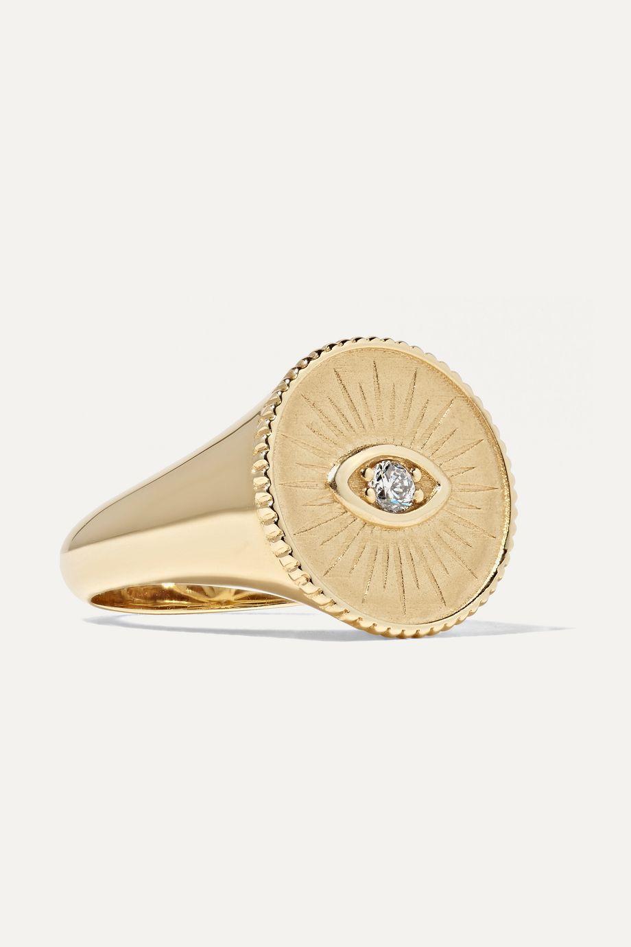 Sydney Evan 14K 黄金钻石图章戒指