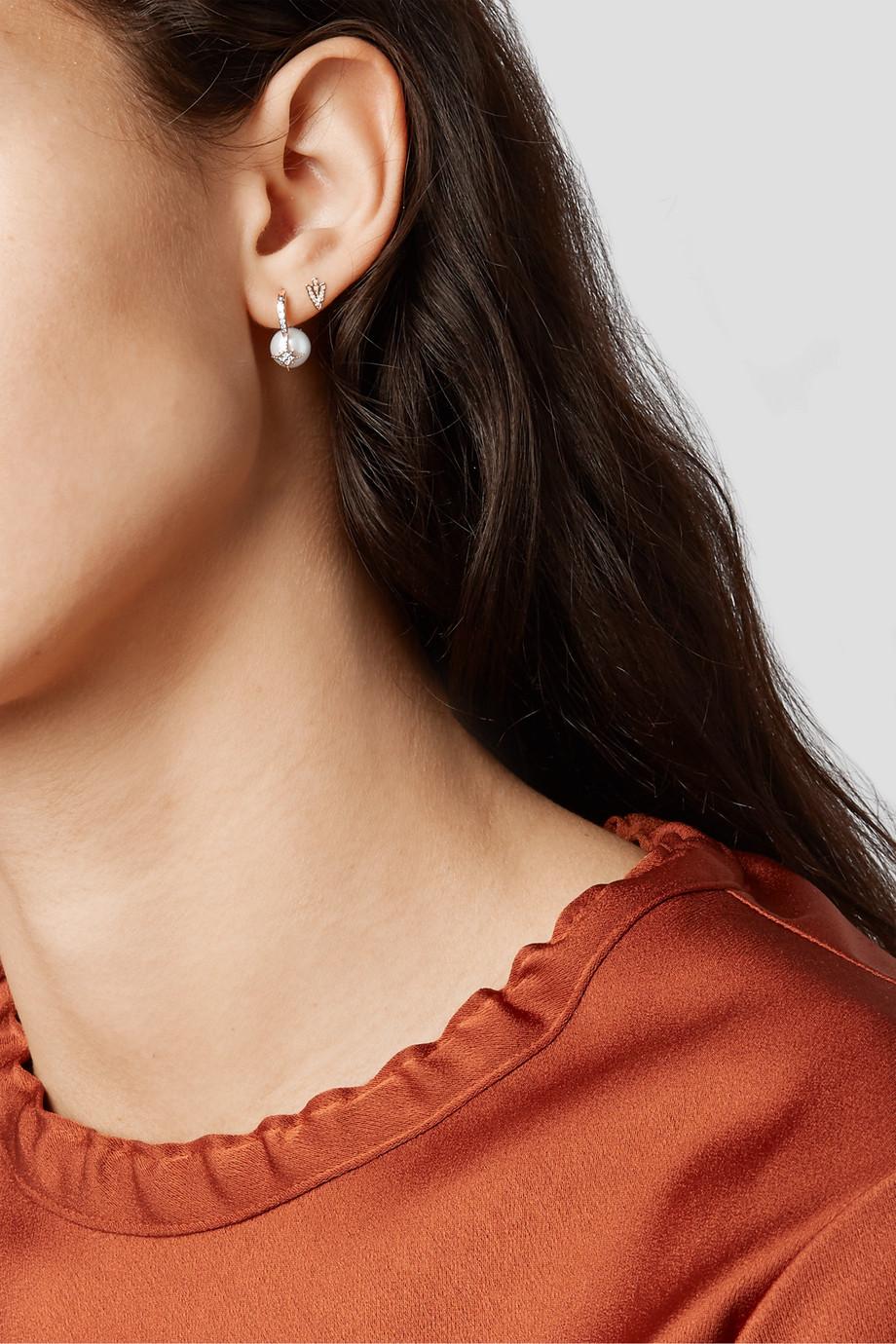 Sydney Evan Starburst 14-karat gold, pearl and diamond earrings