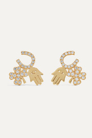 Luck and Protection 14-karat gold diamond earrings