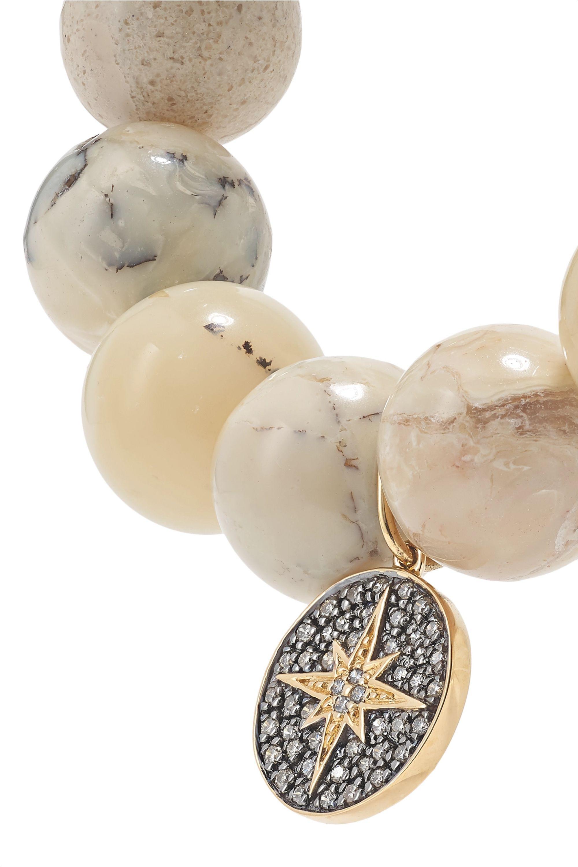 Sydney Evan 14-karat gold, opal and diamond bracelet